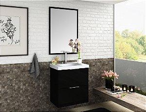 Conjunto de Banheiro Gabinete c/Espelho Pietra 60cm Preto/Preto Brilho - Bosi