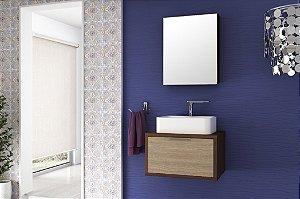 Conjunto de Banheiro Gabinete c/ Espelho Vegas 60cm Suspenso Nogal Malaga/Carvalho Batur - Bosi