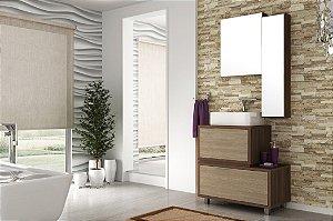 Conjunto de Banheiro Gabinete c/ Espelho Vegas 80cm Nogal Malaga/Carvalho Batur - Bosi