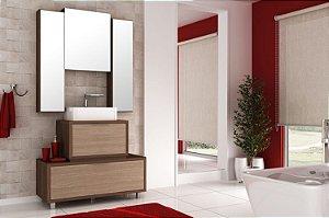 Conjunto de Banheiro Gabinete c/ Espelho Vegas 100cm Nogal Malaga/Carvalho Batur - Bosi