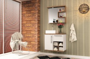 Conjunto de Banheiro Gabinete c/ Espelho Veneza 70cm Suspenso Branco/Nogal - Bosi