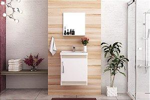 Conjunto de Banheiro Gabinete c/ Espelho Economica 46cm Branco / Taeda - Bosi