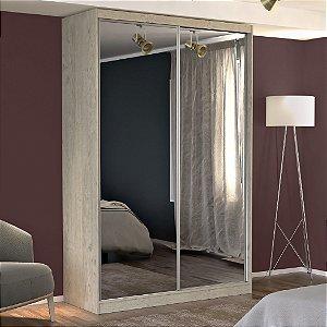 Guarda-Roupa Solteiro 2 Portas com 2 Espelhos 100% MDF Marfim Areia Foscarini