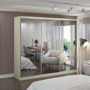 Guarda-Roupa Casal 3 Portas com 3 Espelhos 100% MDF Marfim Areia Foscarini