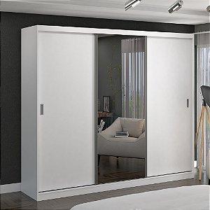 Guarda-Roupa Casal 3 Portas com 1 Espelho 100% MDF Branco Foscarini
