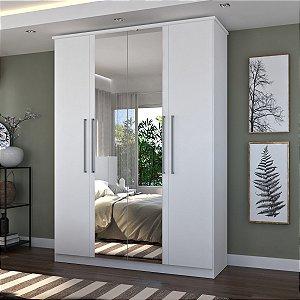 Guarda-Roupa Casal 4 Portas Com 2 Espelhos 100% MDF Branco Foscarini