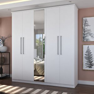 Guarda-Roupa Casal 5 Portas Com 1 Espelho 100% MDF Branco Foscarini