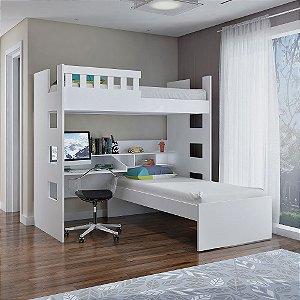 Beliche Escrivaninha com Grade de Proteção 100% MDF Branco Foscarini