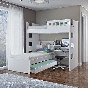 Treliche Escrivaninha com Grade de Proteção 100% MDF Branco Foscarini