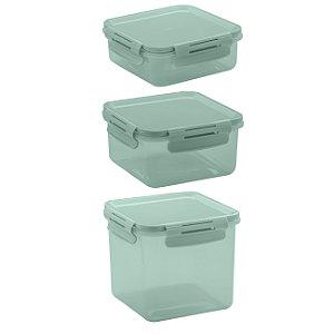 Conjunto de Potes 3 peças Click Ou Verde Menta
