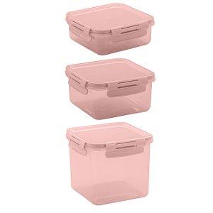 Conjunto de Potes 3 peças Click Ou Verde Rosa