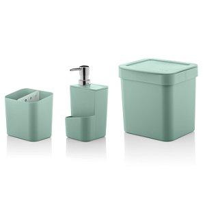 Kit Completo p/ Pia 3 peças Escorredor + Dispensador + Lixeira Trium Ou Verde Menta