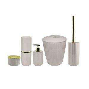 Kit Banheiro Completo 5 peças Groove Ou Branco Fechado