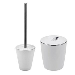 Kit Banheiro 2 Peças  Lixeira + Escova Belly Ou Branco Fechado
