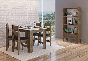 Conjunto Mesa + 4 cadeiras + Buffet Ameixa/Preto - Móveis Canção