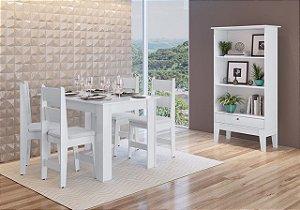 Conjunto Mesa + 4 cadeiras + Buffet Branco - Móveis Canção