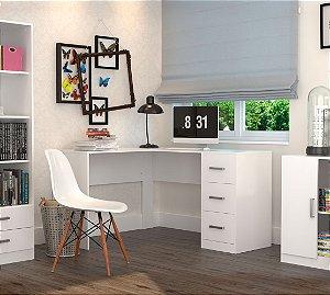 Mesa Para Escritório Em L Com 3 Gavetas Office Plus Appunto Branco