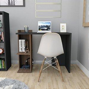 Mesa Para Escritório Sense Com 2 Nichos Appunto Nogueira E Preto