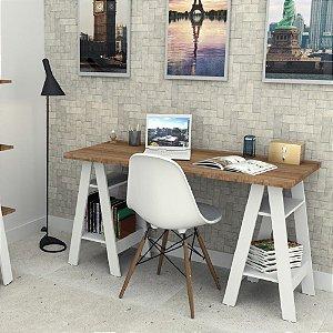 Mesa Escrivaninha Self Appunto Castanho E Branco