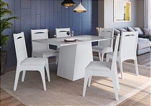 Conjunto Mesa com Base + 6 cadeiras Branco - Móveis Canção