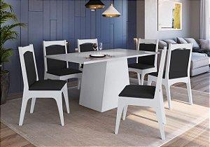 Conjunto Mesa com Base + 6 cadeiras Branco/Preto - Móveis Canção