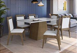 Conjunto Mesa com Base + 6 cadeiras Ameixa/Branco - Móveis Canção