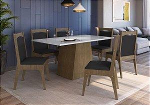 Conjunto Mesa com Base + 6 cadeiras Ameixa/Preto - Móveis Canção