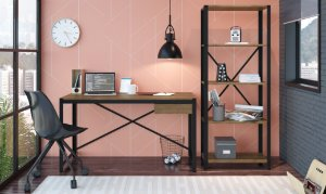 Conjunto Escrivaninha + Estante Steel Light Vermont/Preto Home Office Industrial Artesano