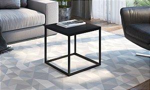 Mesa Auxiliar Quadrada Cube M Preto/Preto Industrial Artesano