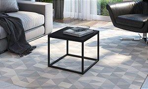 Mesa Auxiliar Quadrada Cube P Preto/Preto Industrial Artesano