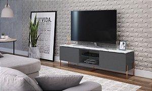 Rack 2 Portas 1 Gaveta Vesta Thassos/Manhatan/Cobre para TV até 60 Polegadas Artesano