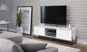 Rack 2 Portas Vesta Thassos/Branco/Preto para TV até 65 Polegadas Artesano