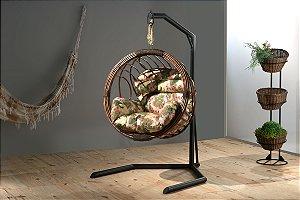 Cadeira Suspensa Balanço de Vime Artesanal Globo + Suporte Vimes Nadal
