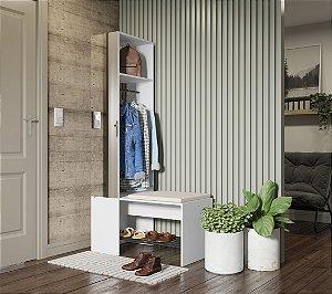 Organizador com cabide, espelho e banco c/ futon Flow Branco Be