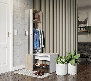 Organizador com cabide, espelho e banco c/ futon Flow Branco Aveiro Be
