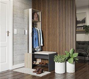 Organizador com cabide, espelho e banco c/ futon Flow Espresso Aveiro Be