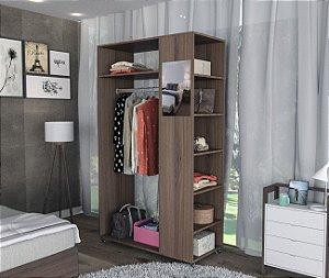 Closet Moove com Espelho e Prateleiras Appunto Castanho