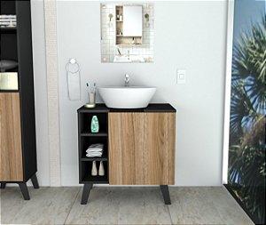 Gabinete para Banheiro Slin Appunto Preto e Castanho