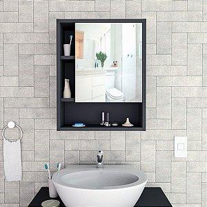 Armário para Banheiro com espelho Slin Appunto Castanho e Preto