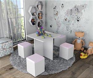 Conjunto Infantil Mesa e 4 Banquetas Appunto Rosa e Branco