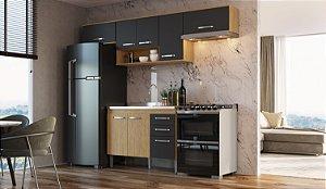 Cozinha Compacta Bélgica 4 peças A3098 Mel/Grafite Casa Mia