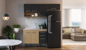 Cozinha Compacta Bélgica 3 peças A3096 Mel/Grafite Casa Mia