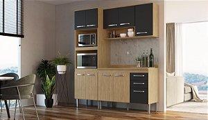 Cozinha Compacta Bélgica 4 peças A3094 Mel/Grafite Casa Mia