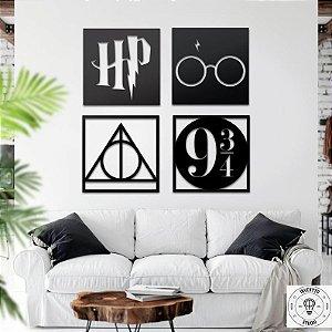 Kit 4 Quadros Decorativos Harry Potter Mdf Vazados Preto 25cm +brinde