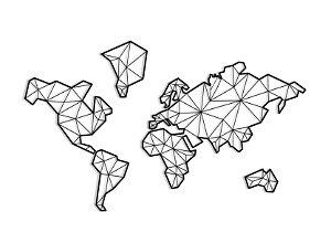 Quadro Mapa Mundi Geométrico