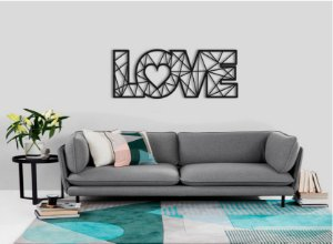Quadro Decorativo  Love Geométrico