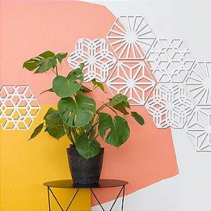 Kit 36 Placas Painel Elemento Vazado Cobogó Hexagonal Branco