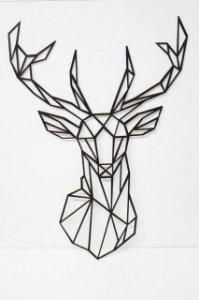 Quadro Decorativo Alce Geométrico  85 cm Altura
