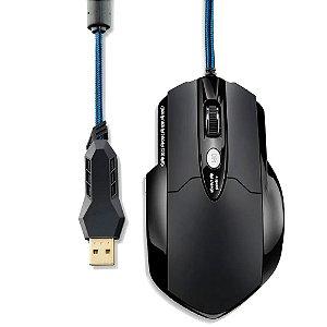 MOUSE USB GAMER PROFISS LASER 8 BT PRETO , MULTILASER MO191