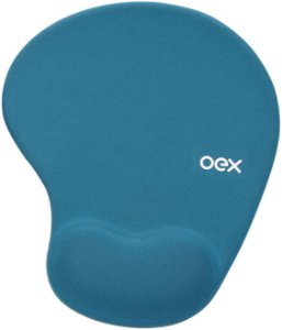 MOUSE PAD C/ APOIO PULSO GEL AZUL, OEX MP200